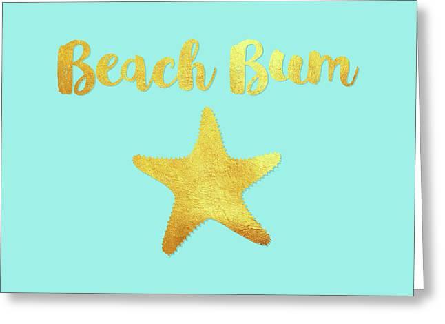 Beach Bum Ocean Blue Beach House Art, Golden Starfish Greeting Card by Tina Lavoie