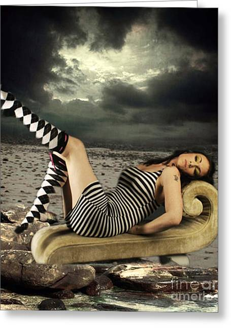 Chaise Mixed Media Greeting Cards - Beach Bum Greeting Card by Tammera Malicki-Wong