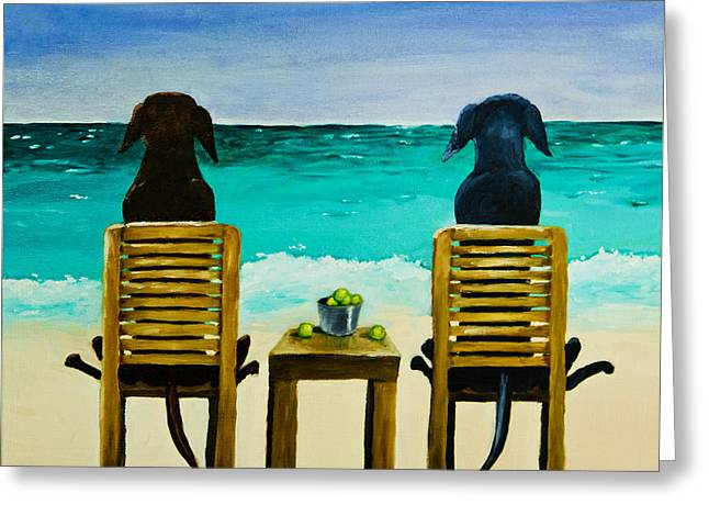 Dogs Paintings Greeting Cards - Beach Bums Greeting Card by Roger Wedegis