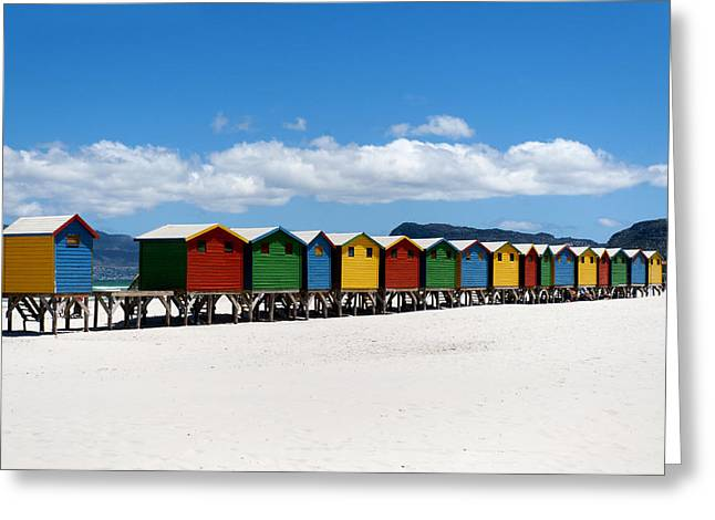 False Greeting Cards - Beach cabins  Greeting Card by Fabrizio Troiani
