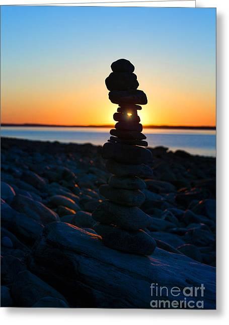 Beach Cairn At Sunrise Greeting Card by Diane Diederich