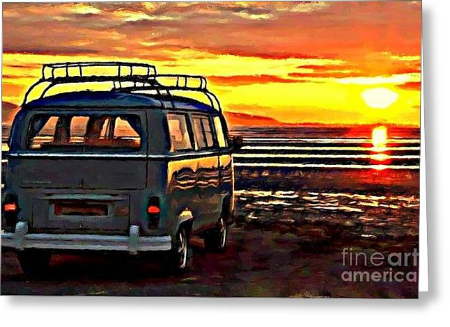 Beach Camper Greeting Card by S Poulton