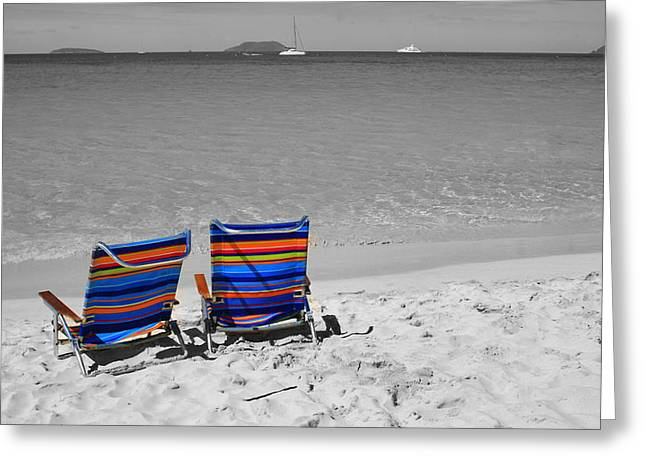 Best Sellers -  - Best Ocean Photography Greeting Cards - Beach Chairs 2  Greeting Card by Perry Webster