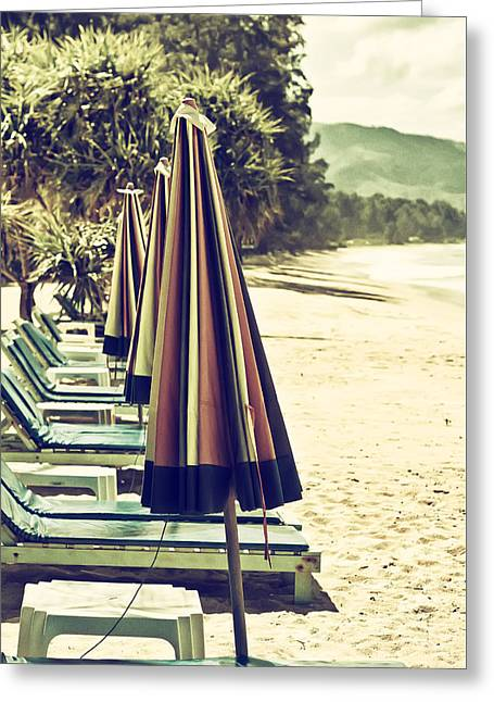 Recliner Greeting Cards - Beach Chairs and Umbrellas Greeting Card by Nomad Art And  Design
