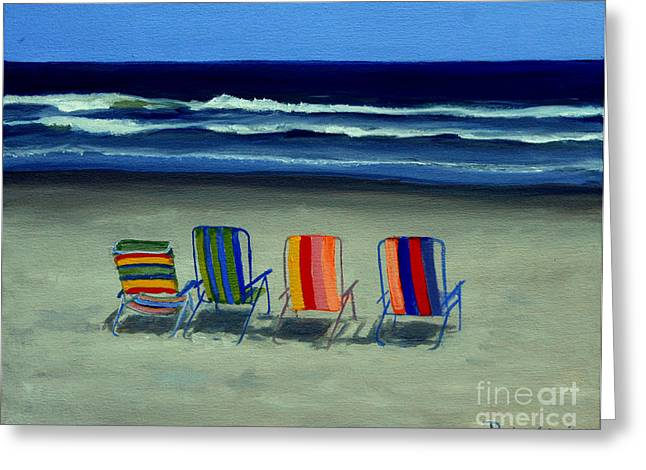 Ocean Shore Greeting Cards - Beach Chairs Greeting Card by Paul Walsh