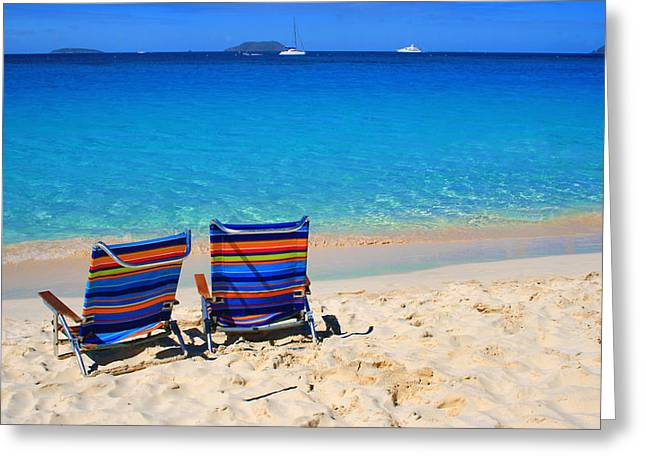 Best Ocean Photography Greeting Cards - Beach Chairs Greeting Card by Perry Webster