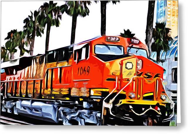 Beach City Train Greeting Card by Brandi Fitzgerald