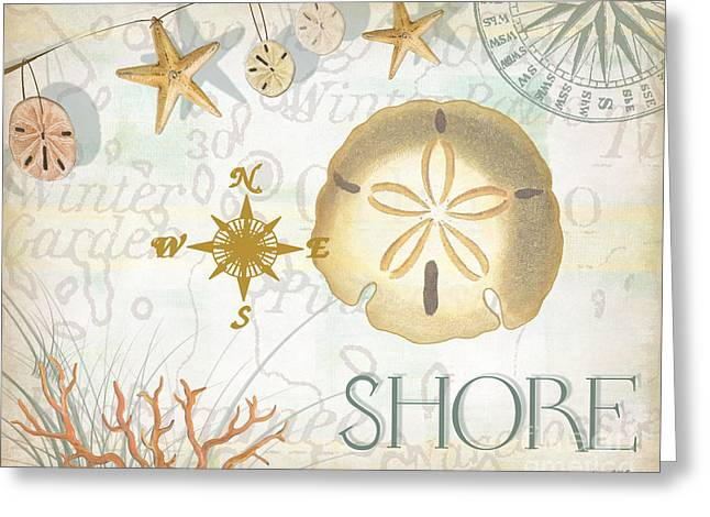 Shells Mixed Media Greeting Cards - Beach Collage D Greeting Card by Grace Pullen