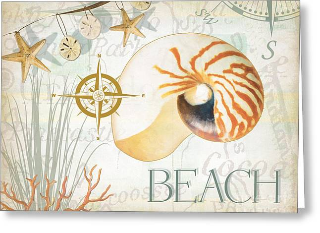 Shells Mixed Media Greeting Cards - Beach Collage Greeting Card by Grace Pullen