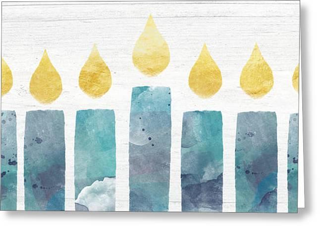 Beach Colors Menorah- Art By Linda Woods Greeting Card by Linda Woods