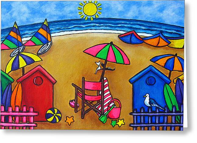 Cat Boat Greeting Cards - Beach Colours Greeting Card by Lisa  Lorenz