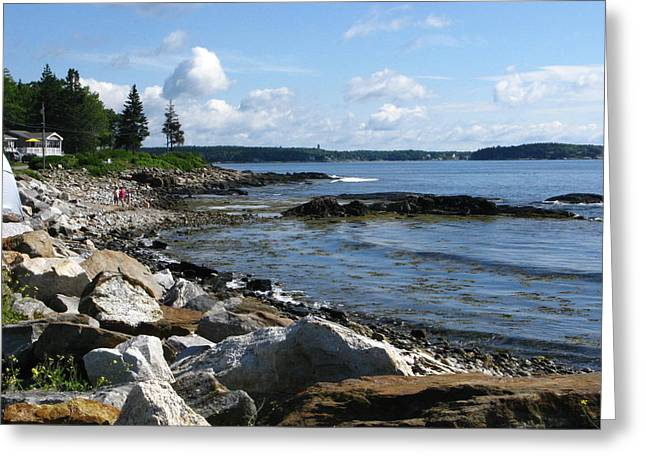Maine Beach Greeting Cards - Beach Combers Greeting Card by Bill Tomsa