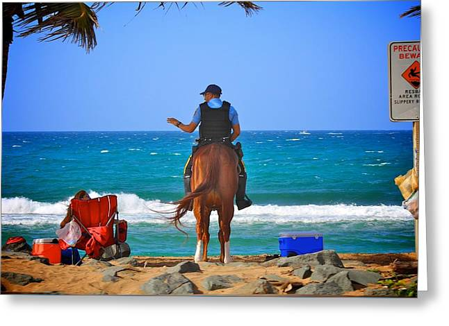Ocean Photography Greeting Cards - Beach cops on horse Greeting Card by George Ohan