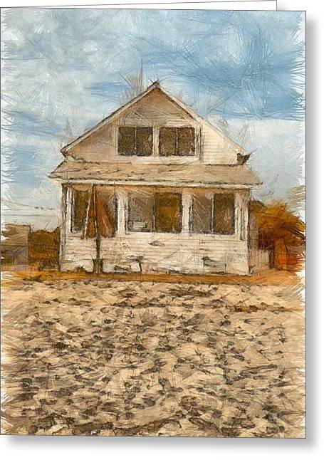 Beach Cottage Pencil Greeting Card by Edward Fielding