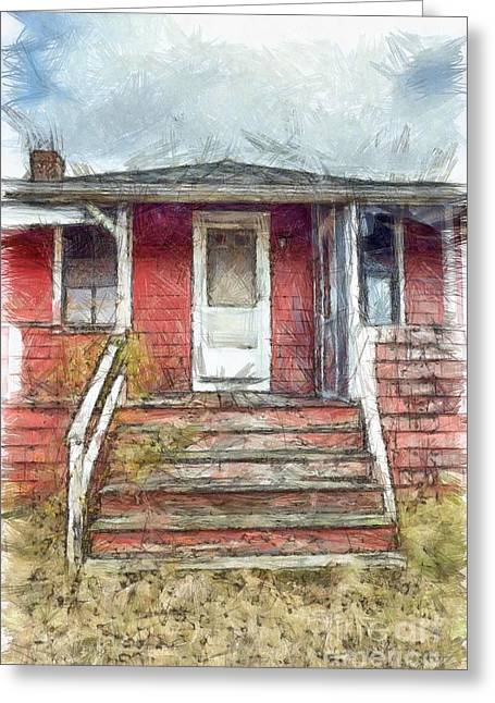 Beach Cottage Salisbury Beach Pencil Greeting Card by Edward Fielding