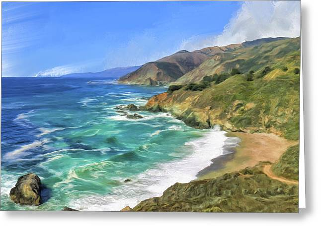 Big Sur Beach Greeting Cards - Beach Cove at Big Sur Greeting Card by Dominic Piperata