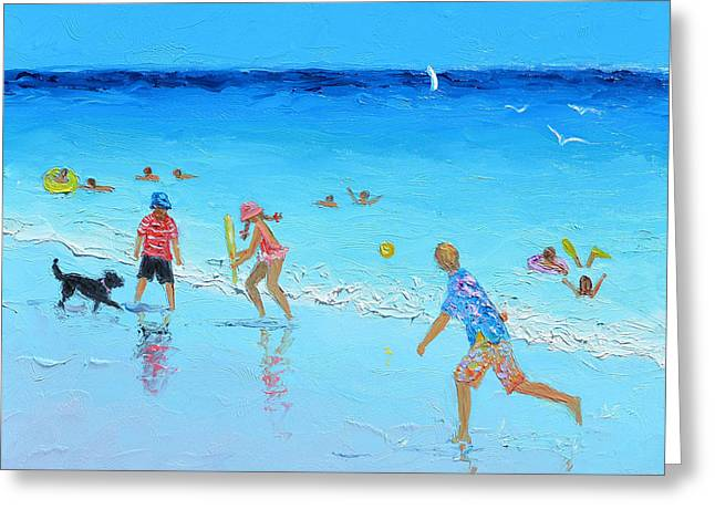 Dog Beach Print Greeting Cards - Beach Cricket Greeting Card by Jan Matson