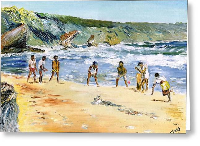 Beach Cricket Greeting Card by Richard Jules