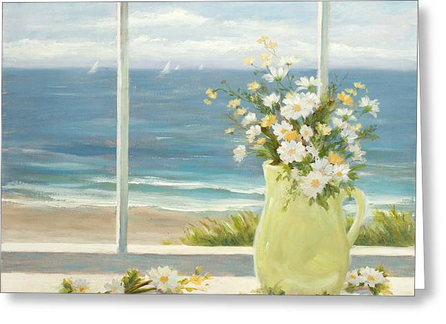 Beach Daisies In Yellow Vase Greeting Card by Tina Obrien