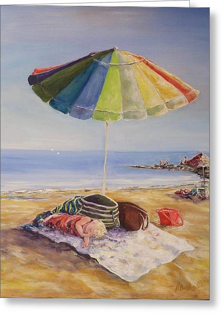 Sand Castles Paintings Greeting Cards - Beach Day Greeting Card by Andrea Birdsey Kelly