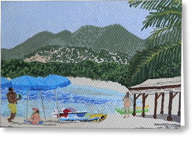 St Margaret Paintings Greeting Cards - Beach Day at Le Galion Greeting Card by Margaret Brooks