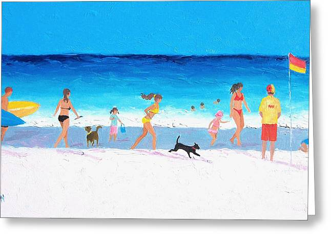 Dog Beach Print Greeting Cards - Beach Day Greeting Card by Jan Matson