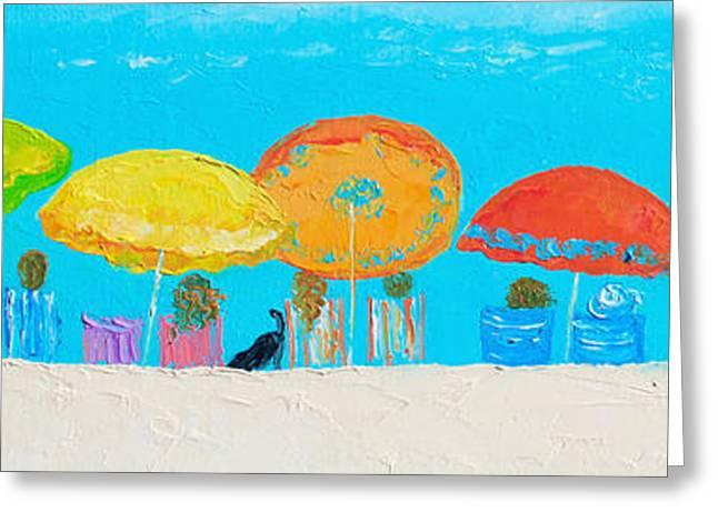 Bathroom Prints Paintings Greeting Cards - Beach Decor - Umbrellas Panorama Greeting Card by Jan Matson