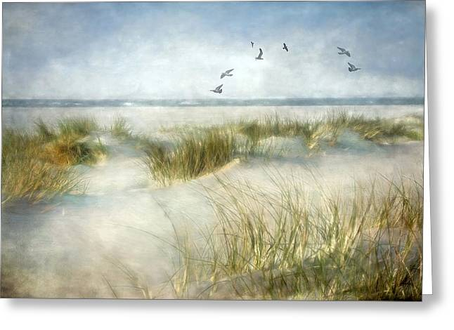 Blue Green Wave Greeting Cards - Beach Dreams Greeting Card by Annie  Snel