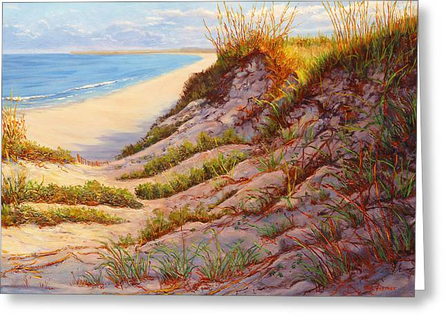 Sand Dunes Paintings Greeting Cards - Beach Dune R Greeting Card by Elaine Farmer