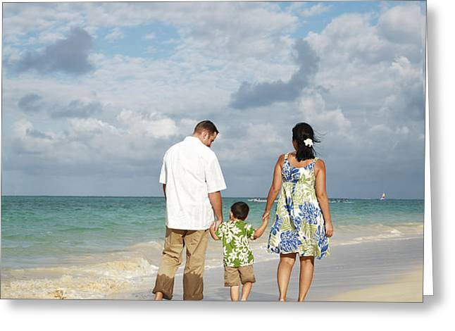 Beach Family Greeting Card by Brandon Tabiolo - Printscapes