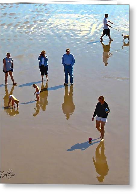 Dog Walking Digital Art Greeting Cards - Beach Family Greeting Card by Patricia Stalter