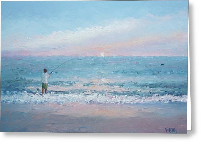 Fishing Prints Greeting Cards - Beach Fishing Greeting Card by Jan Matson