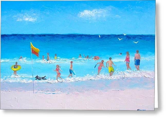 Summer Scene Greeting Cards - Beach Frolic Greeting Card by Jan Matson
