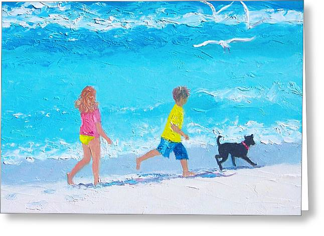 Dog Beach Print Greeting Cards - Beach Fun Greeting Card by Jan Matson