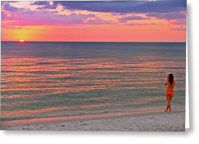 Swimsuit Photography Greeting Cards - Beach Girl and Sunset Greeting Card by Scott Mahon