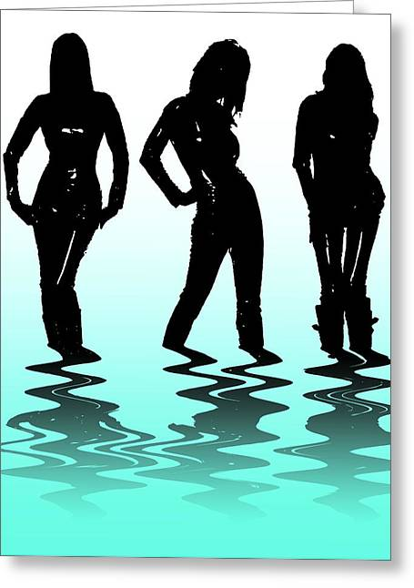 Abstract Silhouette Mixed Media Greeting Cards - Beach Girls Greeting Card by Svetlana Sewell