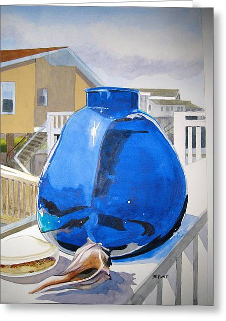 Glass Vase Greeting Cards - Beach Glass Greeting Card by Shirley Braithwaite Hunt