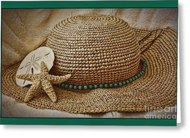 Wide Brim Hat Greeting Cards - Beach Hat Greeting Card by Pamela Blizzard