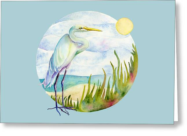 Beach Heron Greeting Card by Amy Kirkpatrick
