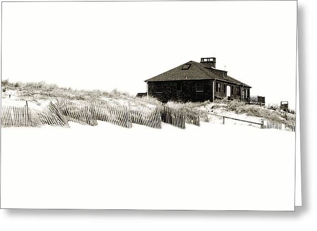Fencing Greeting Cards - Beach House - Jersey Shore Greeting Card by Angie Tirado