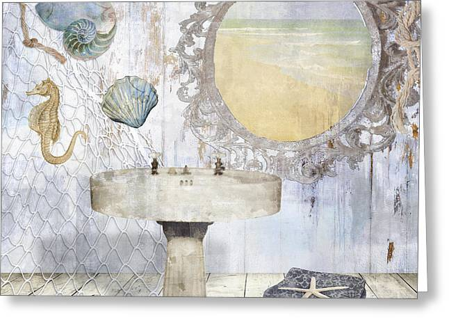 Beach House Bath II Greeting Card by Mindy Sommers