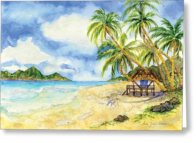 Spa Artwork Greeting Cards - Beach House Cottage on a Caribbean Beach Greeting Card by Audrey Jeanne Roberts