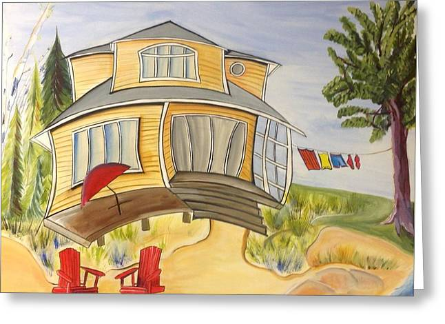Mogel Greeting Cards - Beach House Greeting Card by Heather Lovat-Fraser