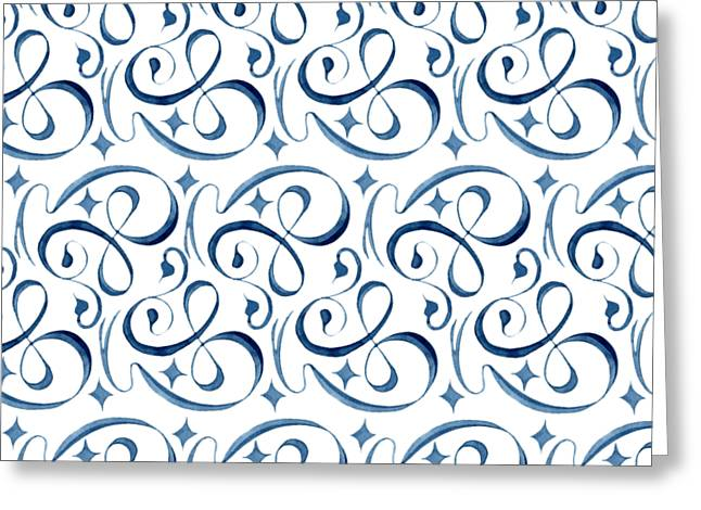 Beach Cottage Style Paintings Greeting Cards - Beach House Indigo Star Swirl Scroll Pattern Greeting Card by Audrey Jeanne Roberts
