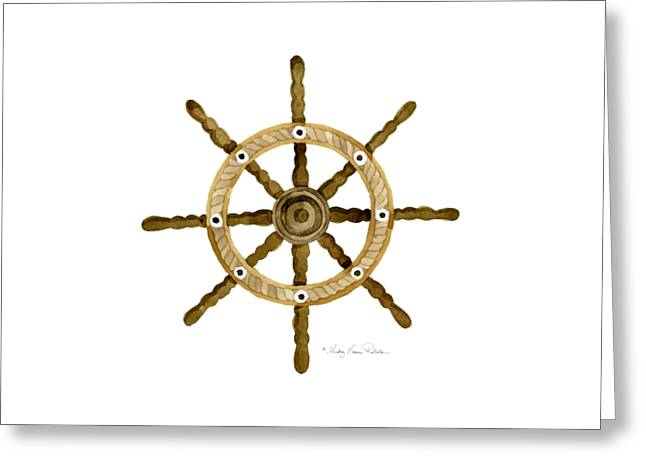 Sailing Ship Greeting Cards - Beach House Nautical Boat Ship Anchor Vintage Greeting Card by Audrey Jeanne Roberts