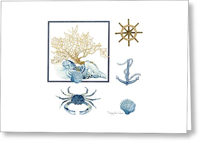 Sea Shell Art Paintings Greeting Cards - Beach House Nautical Seashells Ships Wheel Anchor n Crab Greeting Card by Audrey Jeanne Roberts