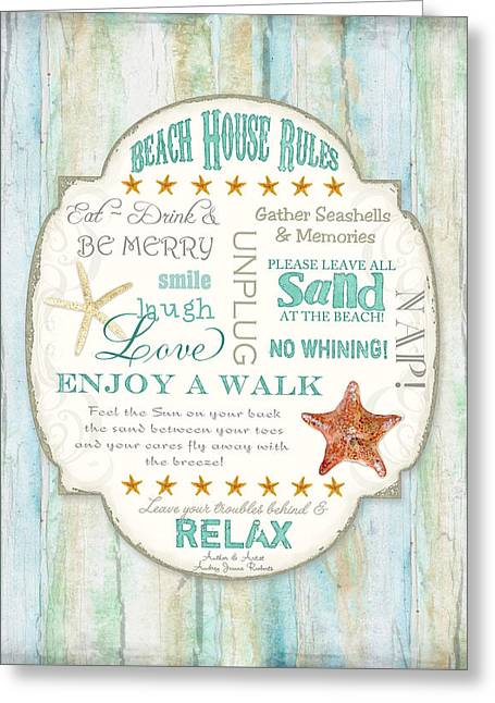 Beach House Rules - Refreshing Shore Typography Greeting Card by Audrey Jeanne Roberts