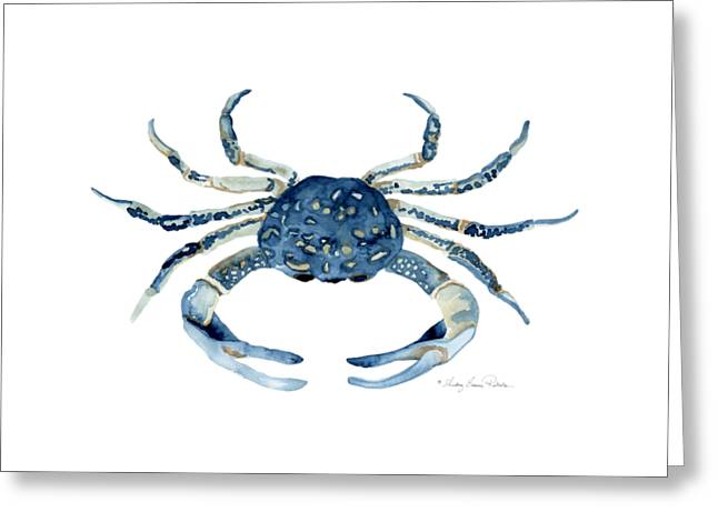Sea Shell Art Paintings Greeting Cards - Beach House Sea Life Blue Crab Greeting Card by Audrey Jeanne Roberts