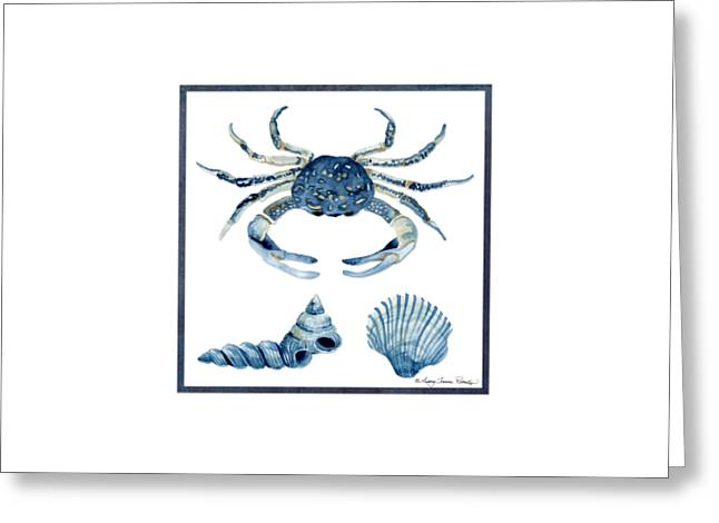 Beach House Sea Life Crab Turban Shell N Scallop Greeting Card by Audrey Jeanne Roberts