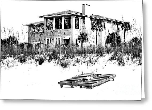 Florida Digital Art Greeting Cards - Beach House Vacation Home Above Sand Dunes Destin Florida Black and White Digital Art Greeting Card by Shawn O